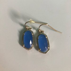 Kendra Scott Lee drop gold earrings - clear cobalt